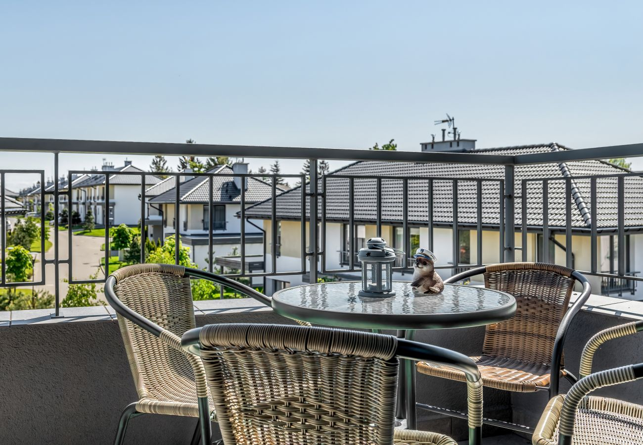 balkon, krzesła, stół, widok, widok z balkonu, na zewnątrz, mieszkanie, wynajem, apartament