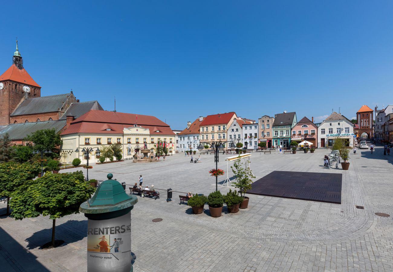 apartament, wynajem, widok, rynek, Plac Kościuszki, Darłowo, lato, wakacje