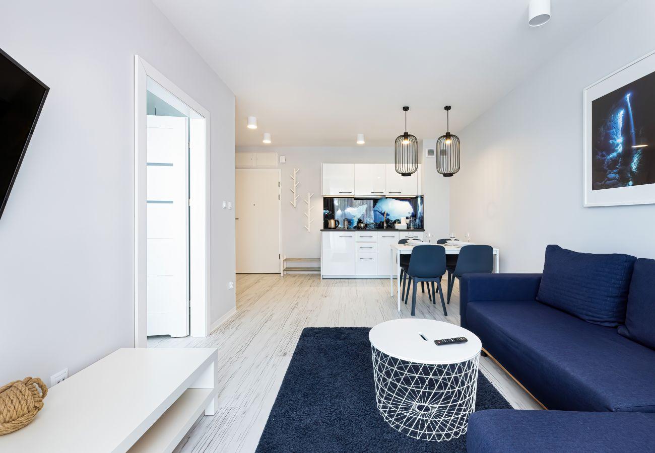 salon, sofa, stolik kawowy, telewizor, jadalnia, stół, krzesła, aneks kuchenny, wynajem