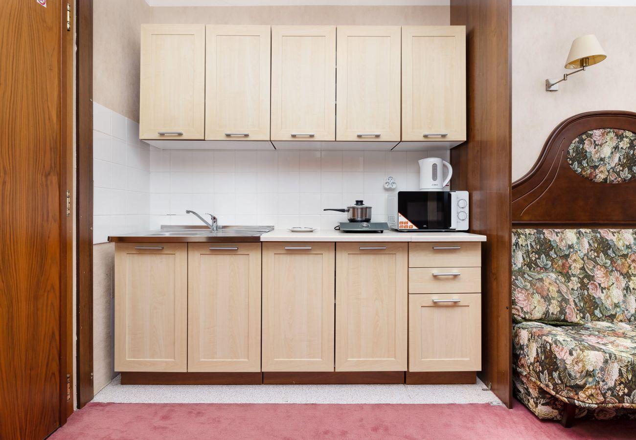 kuchnia, aneks kuchenny, kuchenka elektryczna, czajnik, lodówka, szafki, mieszkanie, wnętrze, wynajem
