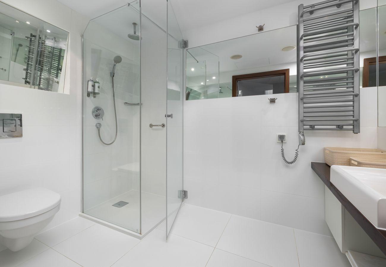 pokój, łazienka, prysznic, suszarka do włosów, toaleta, wnętrze, wynajem, apartament, hotel, klimatyzacja