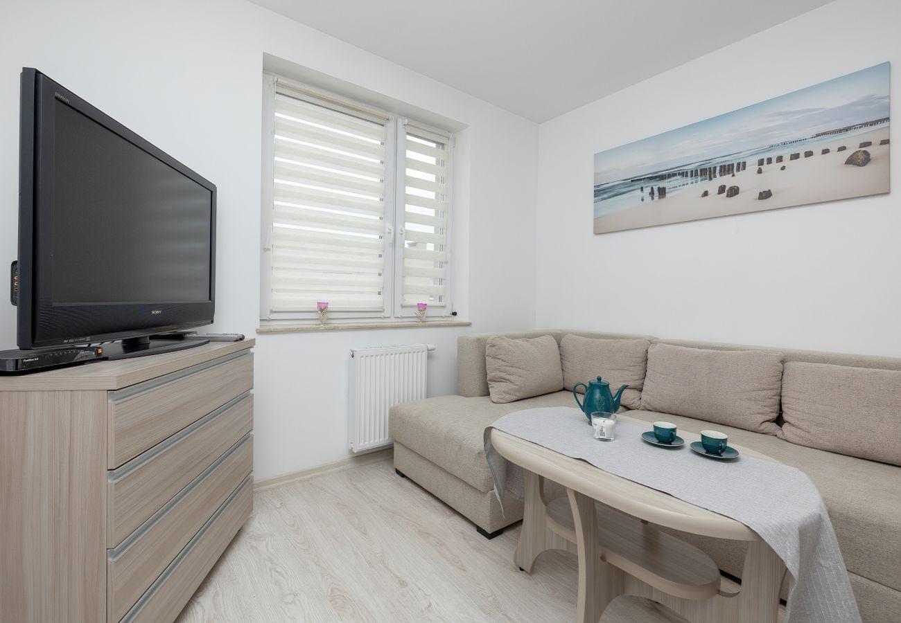 salon, sofa, telewizor, aneks kuchenny, stół jadalny, mieszkanie, wnętrze, wynajem, apartament