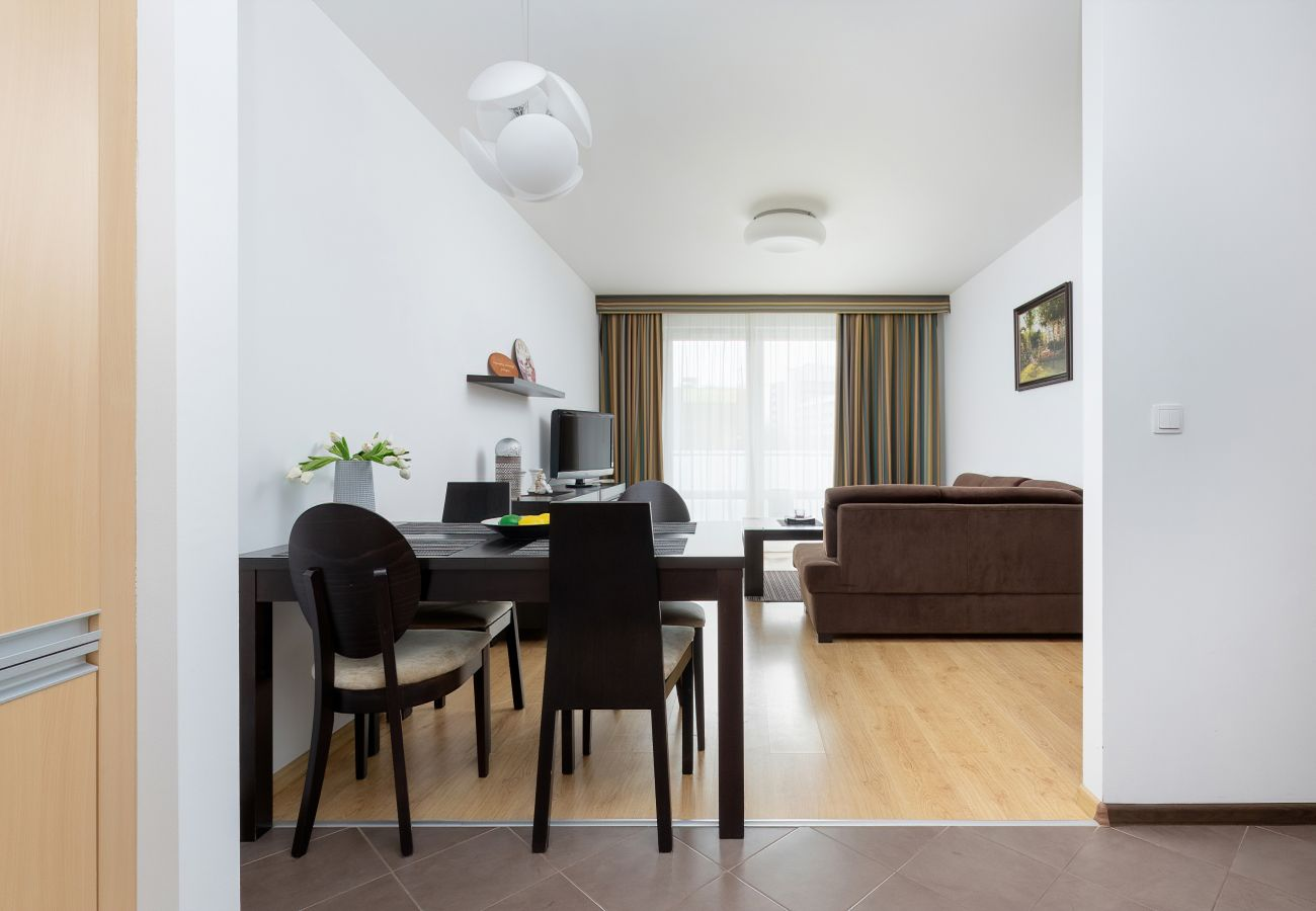 salon, jadalnia, stół, krzesła, aneks kuchenny, sofa, stolik kawowy, telewizor, apartament, wnętrze, wynajem