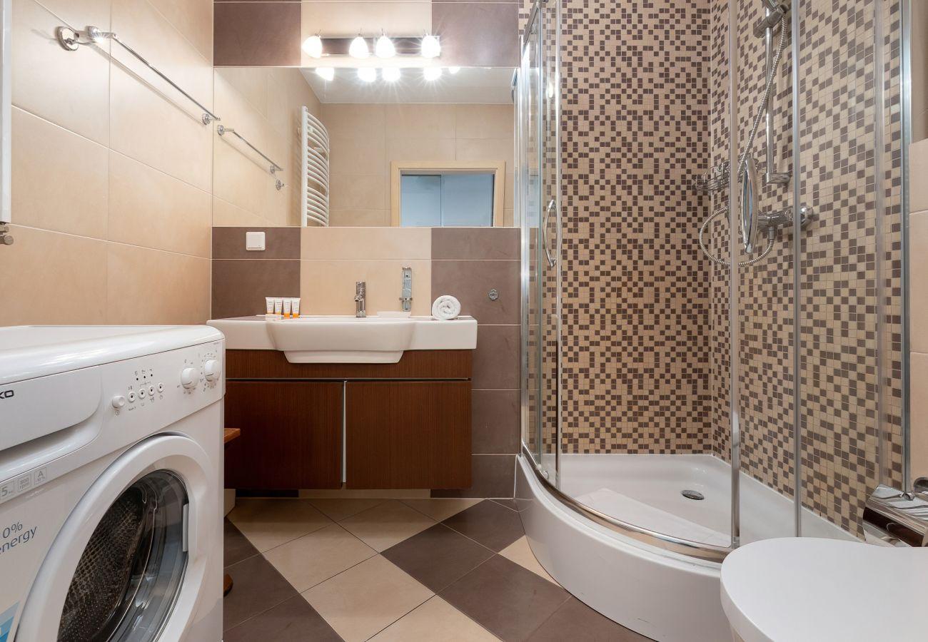łazienka, prysznic, umywalka, toaleta, lustro, szafka łazienkowa, apartament, wnętrze, wynajem