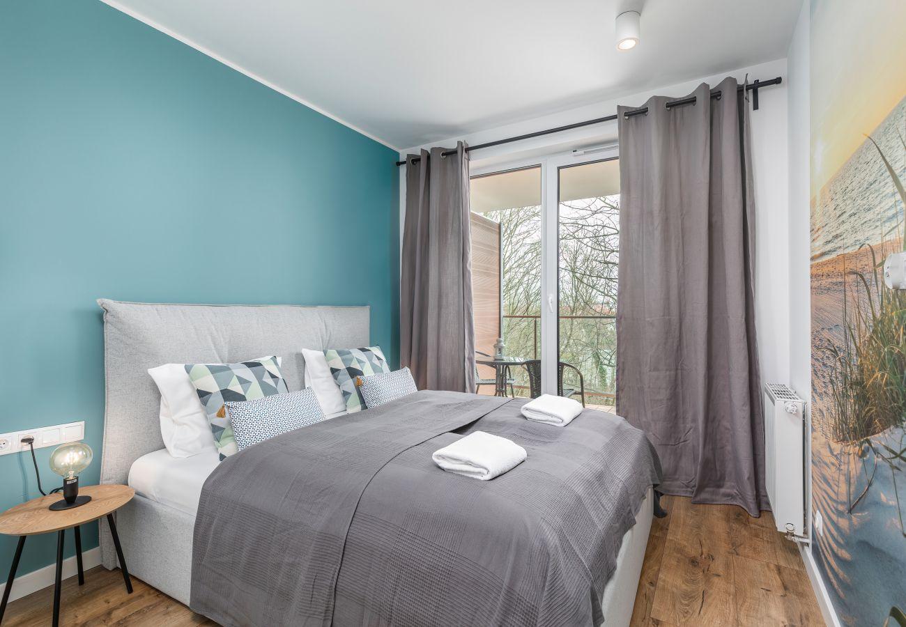 apartament, wynajem, sypialnia, łóżko podwójne