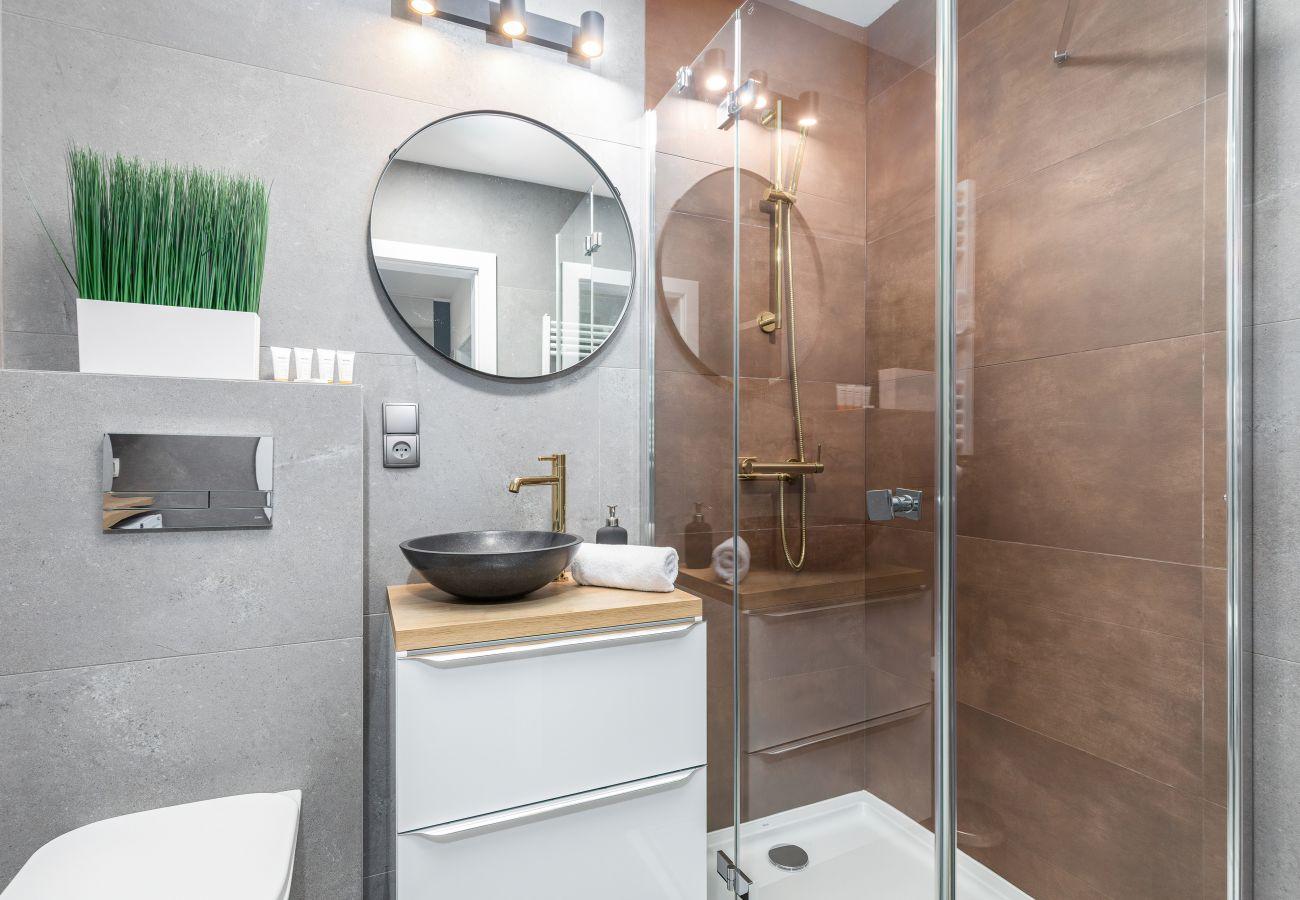 apartament, wynajem, łazienka, toaleta, prysznic, pralka